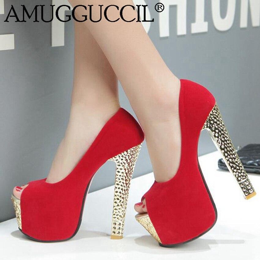 2016 New Plus Big Size 33 44 Black Red Peep Toe Fashion Sexy High Heel Platform