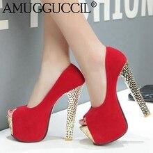 2017 New Plus Big Size 33 44 Black Red Peep Toe Fashion Sexy High Heel Platform