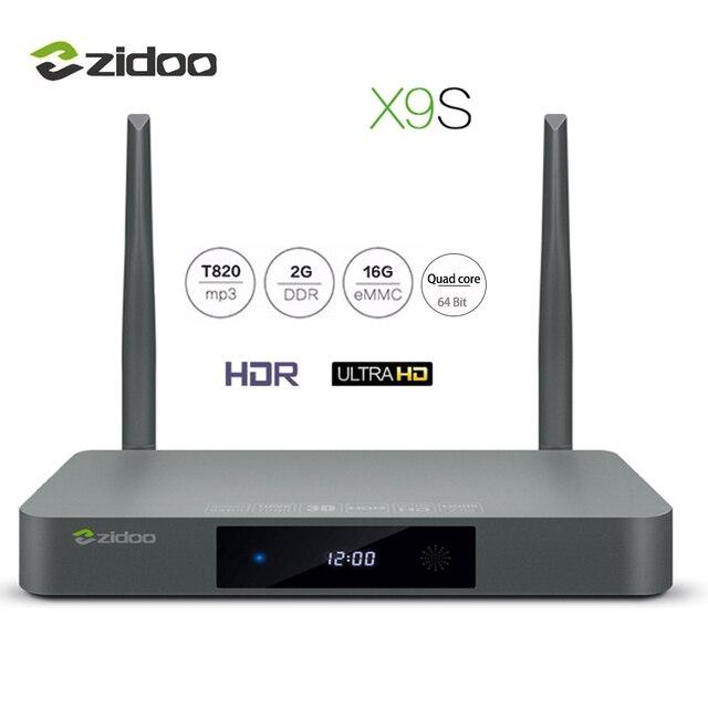 ZIDOO X9S TV BOX 4K*60fps HD HDMI 2.0 Android 6.0 Quad-Core HDMI 2.0 BT4.0 Set-top Boxes Dual Band WIFI 2G+16G IPTV Media Player