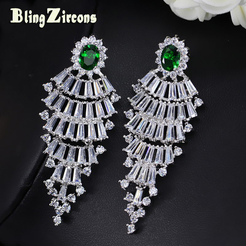 Blingzircons Feather Shape Green Cubic Zirconia Baguette Cz Crystal Long Drop Costume Earrings Fashion Jewelry For Women E240 In From