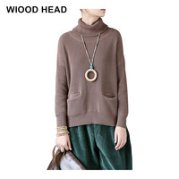 Women Vintage Autumn Winter 2017 Knit Cotton Soft Warm Turn Down Collar Batwing Sleeve Pullovers Pockets