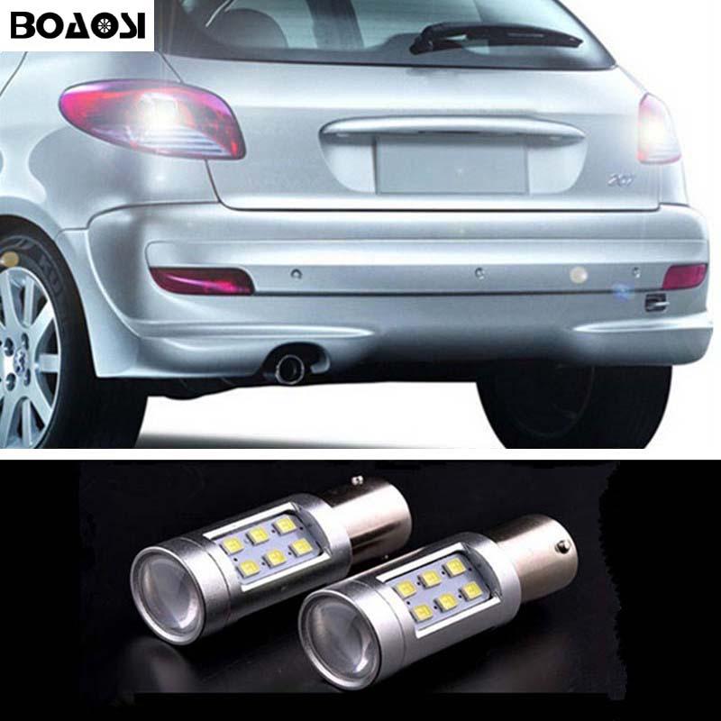 BOAOSI 2x 1156 LED backup reverse light lamp For peugeot 307 206 2008 207 308 4008 508 5008 for 301 2014 for peugeot 207 sw estate wk
