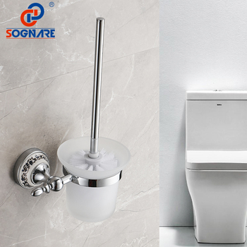 SOGNARE Chrome Toilet Brush Holder Set Wall Mounted Toilet Brush Holder With Glass Cup Bathroom Accessories Bath Hardware Sets zgrk toilet brush holders brass plated wall mounted toilet brush holder with ceramic cup household products bath hardware sets