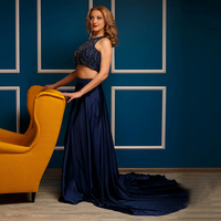 LORIE Two Piece Prom Dress O Neck Beaded with Rhinestones Satin Royal Blue Evening Dress Party Gown vestidos de graduacion 2017