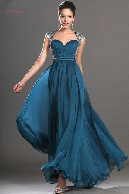 Blue   Evening     Dresses   2019 A-line Cap Sleeves Chiffon Sequins Open Back Plus Size Long   Evening   Gown Prom   Dresses   Robe De Soiree