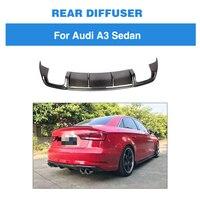 Rear Diffuser for Audi A3 Sedan 2017 2018 2019 Standard Non S3 Sline Carbon Fiber Bumper Lip Spoiler Quad outlet Car Styling