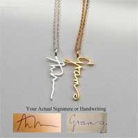 GORGEOUS TALE Personalized Signature Name Necklaces Custom Jewelry For Women Gift Customized Vertical Pendant Necklaces