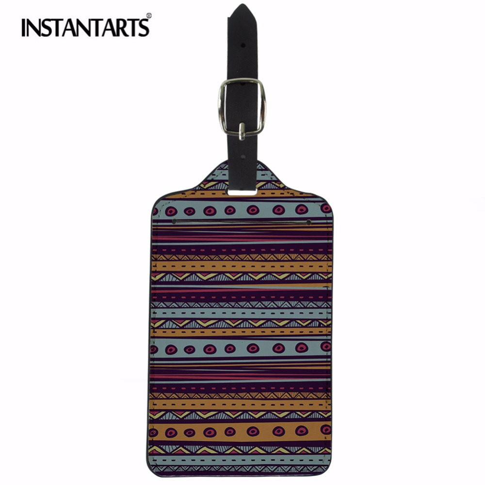 INSTANTARTS Bohemia Style Geometric Luggage Tags Suitcase Label ID Address Holder Boardi ...