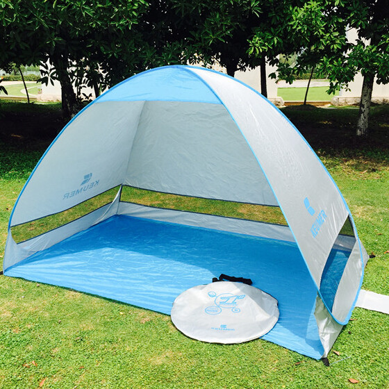 Anti UV beach tent 2 person silver coating sun shelter quick antomatic opening awning summer beach shade