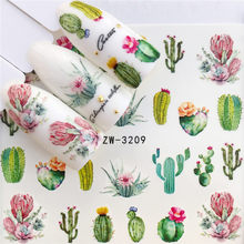 WUF 1 PC Cactus / Flamingo / Horse / Flower Water Transfer Nail Art Sticker Beauty Decal Nails Art Decorations(China)