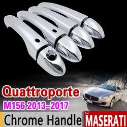 Per Maserati Quattroporte IV M156 Chrome Door Handle Copertura Trim Set 2013 2014 2015 2016 2017 4 Accessori Auto Adesivo Styling
