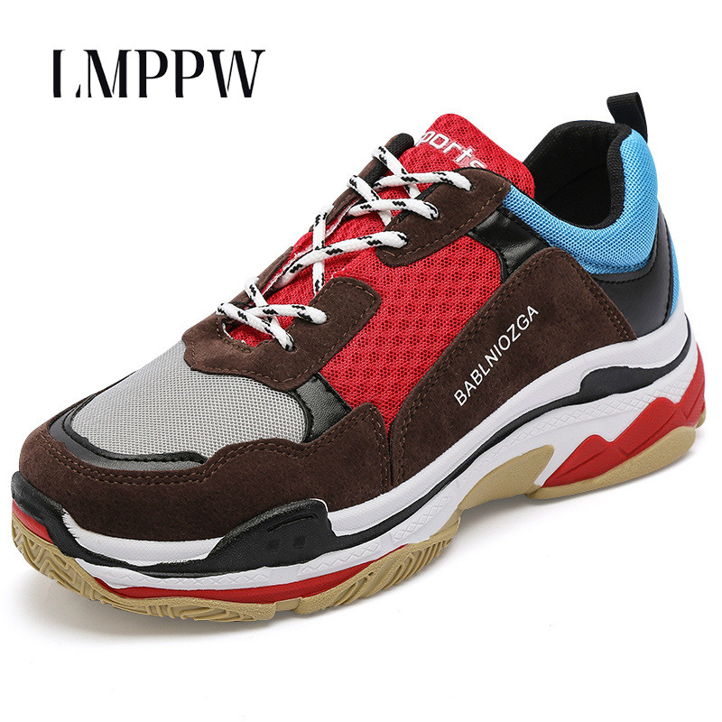 Men's Casual Sneakers Korean Lace Up Chunky Men's Running Shoes Breathable Comfortable Men Fashion Shoes Outdoor Sport Walking