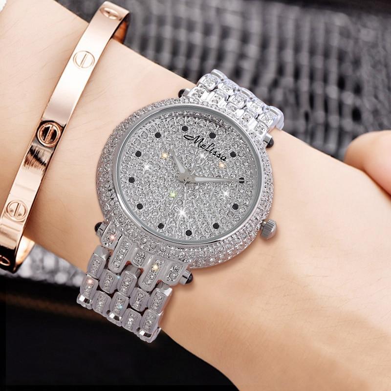 Women Luxury Bling Rhinestone Stainless Steel Watches Ladies Quartz High Quality Watch Waterproof Gold Silver Clock