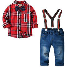 Baby Boy Clothes Children Clothing Cotton 2019 spring and autumn new plaid shirt + trousers suit