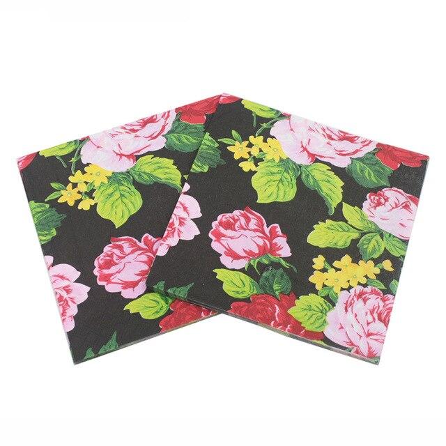 vintage black flower paper napkins cafeparty tissue napkins decoupage decoration paper 33cm33cm 20pcs