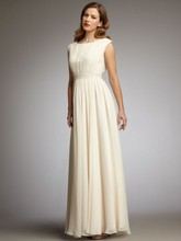 2016 Attractive A-Line Scoop Neck Floor Length Chiffon Mother Of The Bride Dress Long Cap Sleeve Prom Gown Dress Pleats F1312