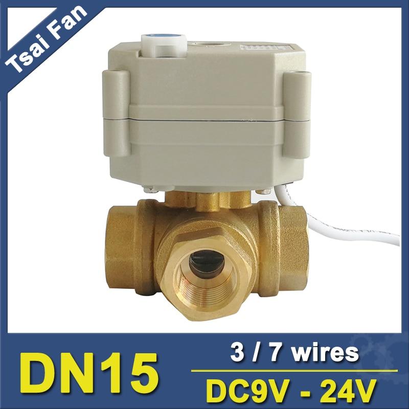 TF15 BH3 B Brass 1 2 DN15 3 Way T L Type Horizontal Actuator Ball Valve