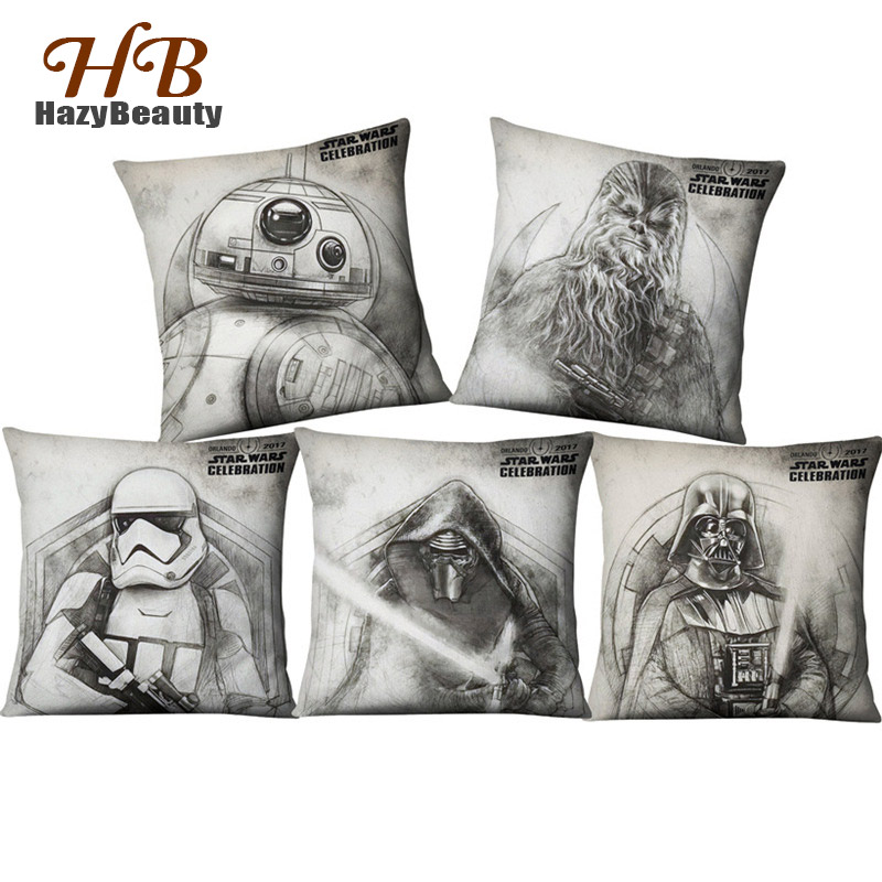 Drop Shipping Sketch Classic Film Star Wars Stormtrooper Characters Symbol Pillow Case Linen Cotton Bedroom Sofa Decoration