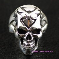 Thailand import rings punk tattoo skulls men 925 sterling silver jewelry silver ring