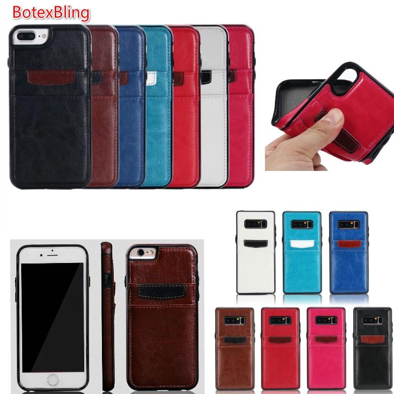 BotexBling Simple Double fente pour carte Couleur étui en cuir pour iphone X cas 8 8 Plus 6 6 splus 7 plus la couverture Poche portefeuille S8 S7 S8Plus N8