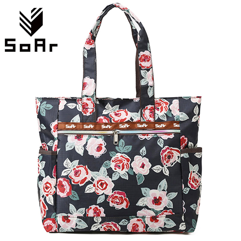 SoAr Designer handbags high quality nylon ladies shoulder bags women tote bag printing female large capacity shopping bags big 1 soar women leather handbags large women bag shoulder bags ladies brand alligator crocodile pattern hand bags tote female blosa 3