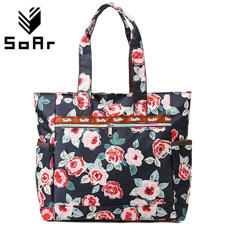Steigen Designer handtaschen hohe qualität nylon damen schulter taschen frauen tote tasche druck weibliche große kapazität einkaufstaschen große 1
