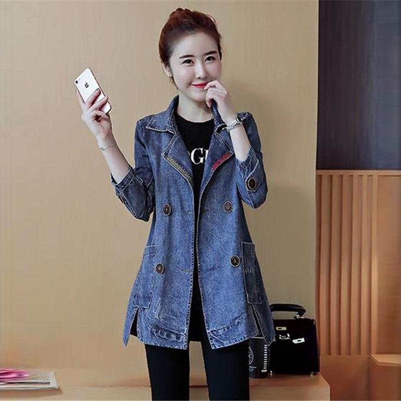 Femmes La Taille Manteau Printemps Automne Femelle Outwear Veste Manches Plus A0607 Denim Longues Jeans Nouveau 2018 Vestes Mince Col Blue N8m0yvnwO