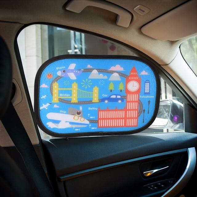 2Pcs Car Sun Shade Blocks for Baby Kids Care Cartoon Cute Toddler Window  Anti-UV Visor UV Rays Protector Sun Curtain Suction de3fb2a1a7f