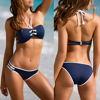 Sexy Bikini Set Women Halter Bikinis Bathing Suit Triangle Swimming Suit Swimwear Bandage Tankini Monokini Biquini Swimsuit New