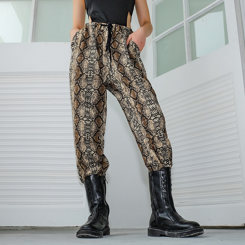 SUCHCUTE Snake Print Elasitc High Waist   Pants   Streetwear Casual Loose Trousers Women Fashion New   Capri     Pants   Women Autumn 2018