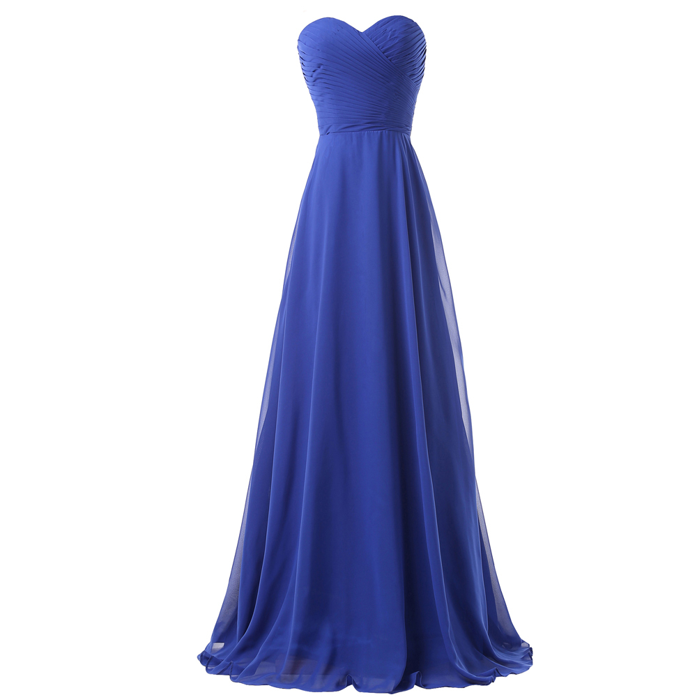Royal Blue Bridesmaid Dresses Weddings Long Party Dress Pleated Chiffon Adult Formal Occasion Prom Gown Lace Back 6232 - Grace Karin Evening Co. Limited store
