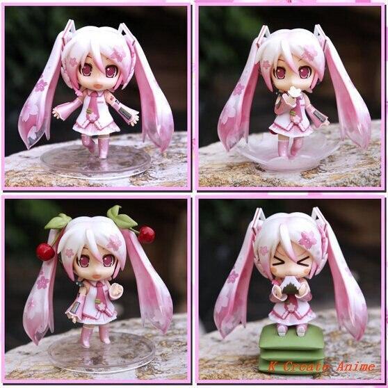 ФОТО Free shipping 5set (4pcs/set) Anime 2014 Q version Oriental cherry Hatsune Miku pvc figure toy tall 10cm via DHL/EMS