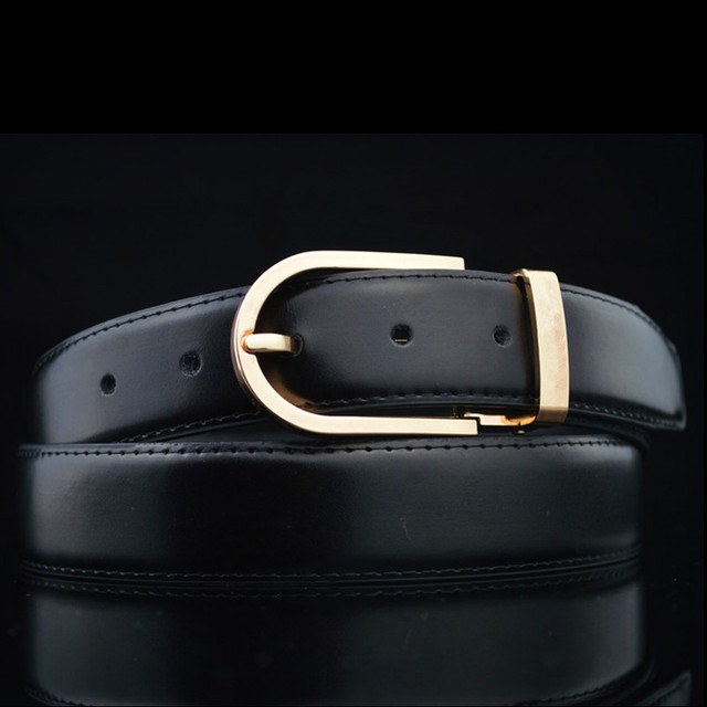 Belt For Men And Women Top Leather Brand Designer Casual Men Belts Black Stitches Luxury Male Belt With Golden Pin Buckle 125cm