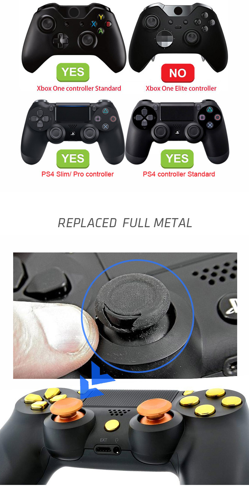 HOT SALE] Aluminum Metal Thumbsticks Joystick Grip Analog