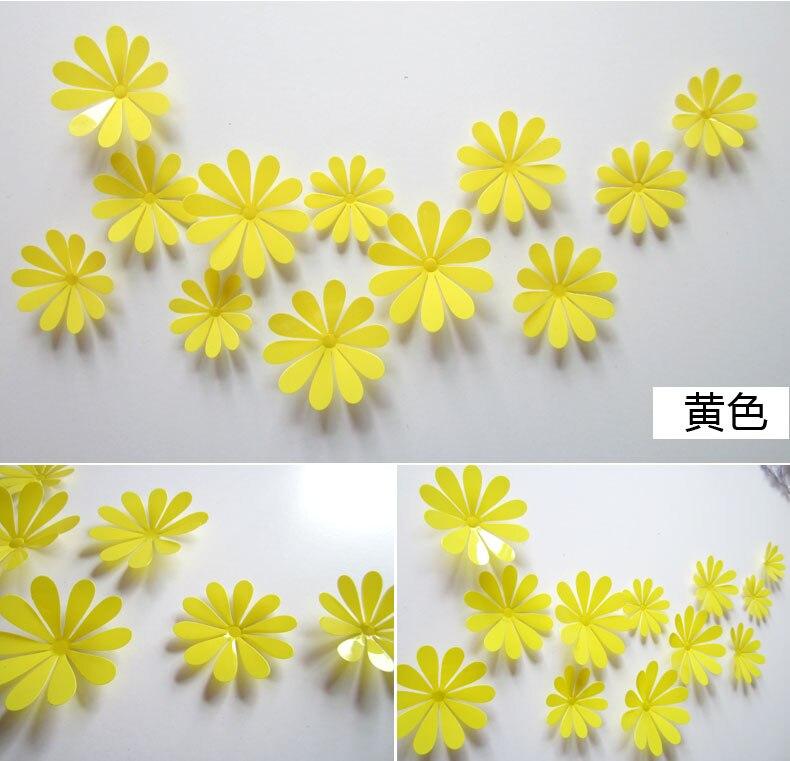 PcsSet PVC Modern Girl Wall Stickers DIY Design Sticker Wall D - Yellow flower wall decals