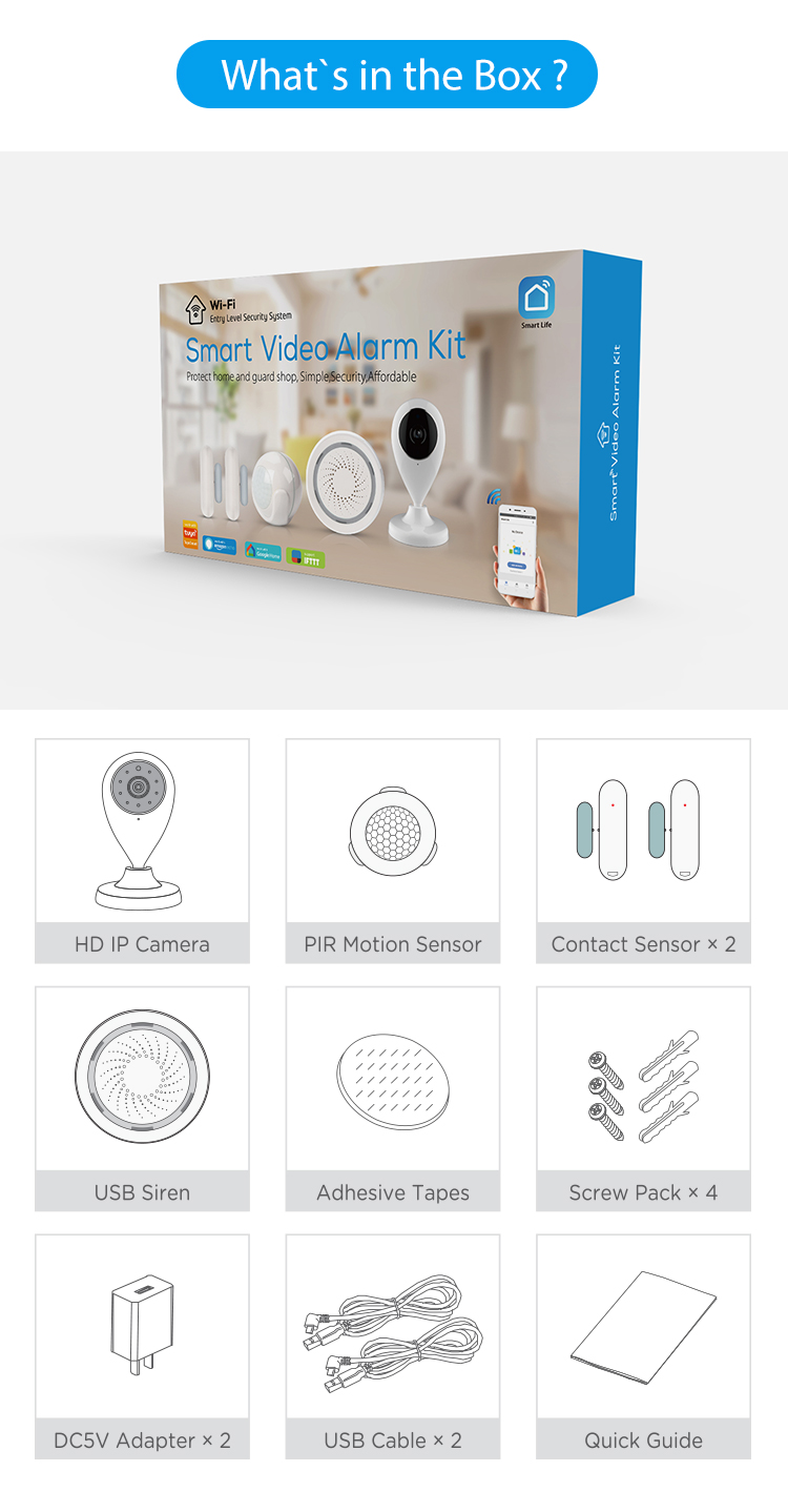 TUYA Smart Home Video Alarm Kit Concluding 720P Cameras 3 sensors 1 Siren Alarm All Support Wifi with SmartLife TUYA Smart APP_F18