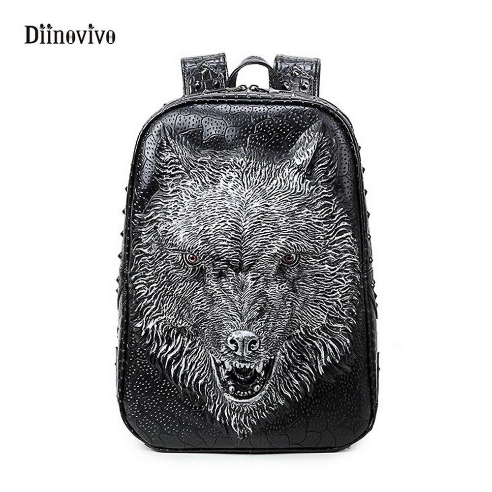 DIINOVIVO femmes Style Rock sacs d'école étanche PU cuir sac à dos grande capacité 3D loup Rivet sac à dos sac à dos WHDV0122