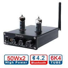 Dilvpoetry R50 TPA3116D2 HiFi Mini Hybrid Tube Power Amplifier Stereo Headphone Amp Bluetooth 4.2 Receiver 50W*2 Vacuum 6J4 Tube k guss a1 vacuum tube headphone amp 6k4 6j1 low ground noise integrated stereo amp audio hifi output protection for headphone