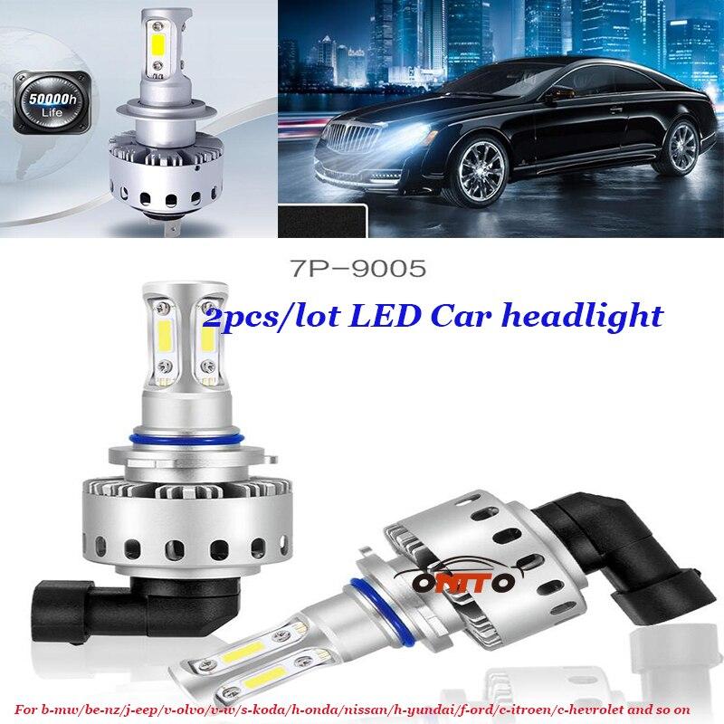 Good Quality 6000LM 12V 1pair Car LED Headlight 90w Auto COB Head bulb Hi/Lo Beam Headlamps 7P-9005 car lighting