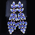 Luxury Peacock tail Design Full Crystal Rhinestones Dangle Earring Fashion Long Earring for Women Jewelry Accessory