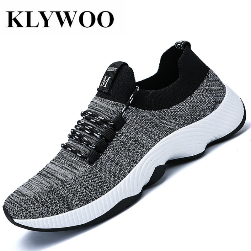 KLYWOO 2018 Fashion Men Shoes Casual Weaving Fly Mesh Breathable Light Soft Slip on Mens Shoes Male Trainers Sneakers Footwear