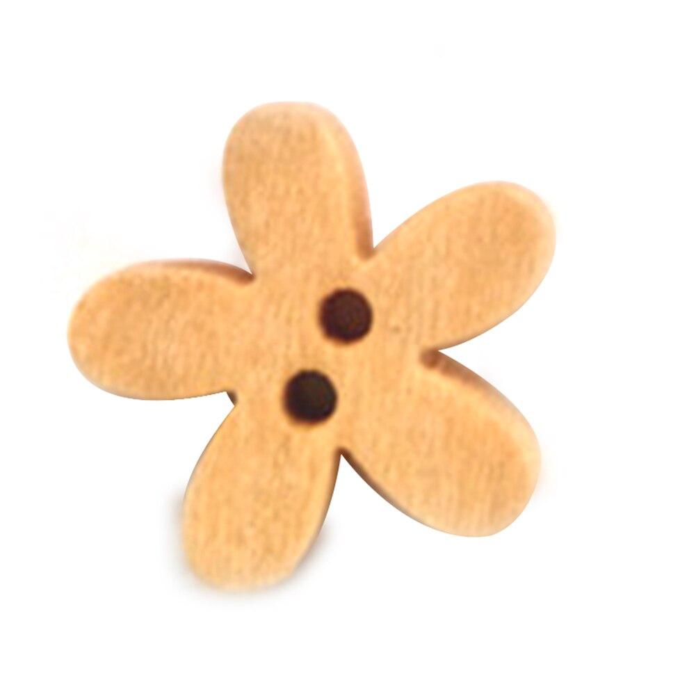 100 шт. маленький цветок деревянные Пуговицы 15 мм натуральный светло-коричневого цвета Вышивание Пуговицы для детей или Одежда для малышей р...