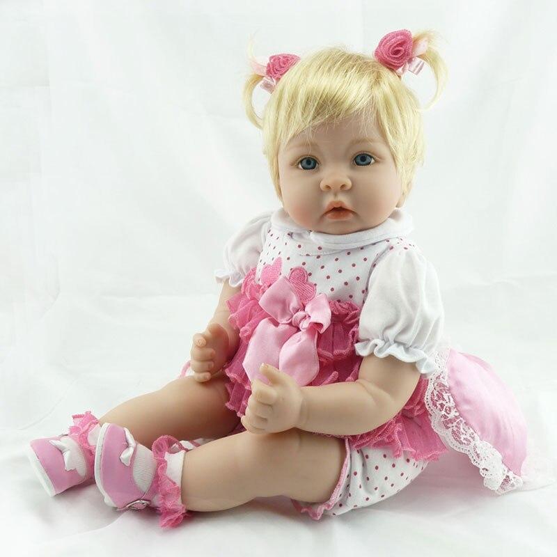 55cm Girl Baby Dolls 22inch Silicone Reborn Doll BeBe Reborn Lifelike Newborn Realista Babies Toys Interactive Dolls Brinquedos