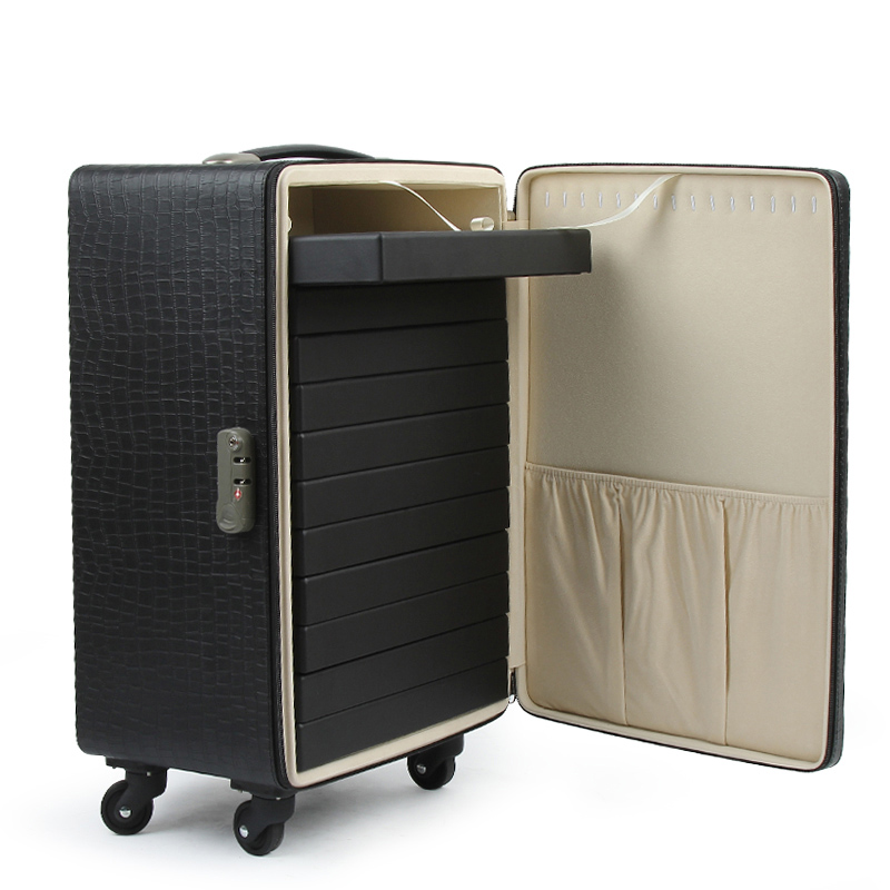 Black PU Leather Trolley  Jewelrybox Or Suitcase With Password Lock For Jewelry Business Or Exhibition Transportation Or Stored