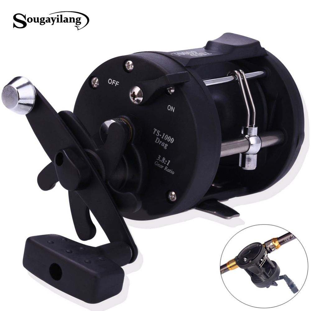Sougayilang Trolling Reel Fishing TSSD 3000L-4000L Black Right Hand Casting Sea Fishing Reel Saltwater Baitcasting Reel Coil metal round jigging reel 6 1 bearing saltwater trolling drum reels right hand fishing sea coil baitcasting reel