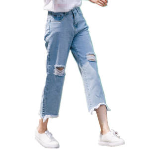 Jeans Wide-Leg Cheap Women Girl Summer Fashion New Spring Hole B2051 Easy-To-Show Nine-Point