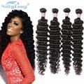 Brazilian Virgin Hair Deep Wave 4 Bundles Human Hair Weave Grade 8A Unprocessed Virgin Hair Wet And Wavy Virgin Brazilian Hair