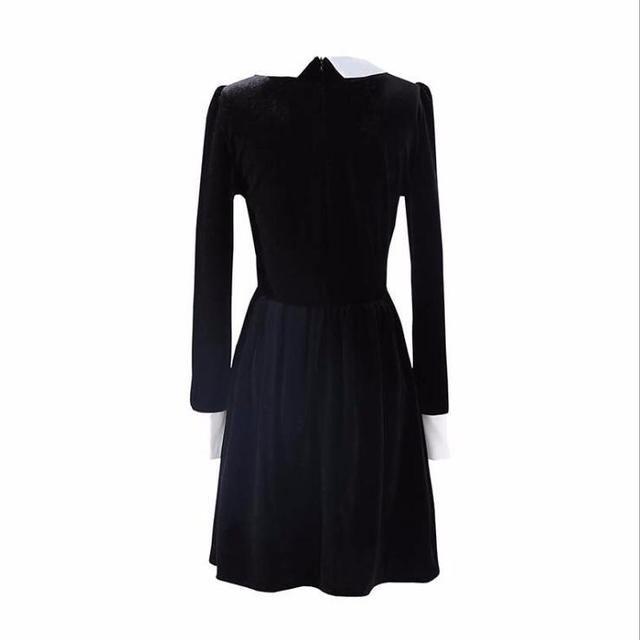 Fashion Ladies Long Sleeve Turn Down Collar Gothic Style Vintage Velvet A Line Dress  4