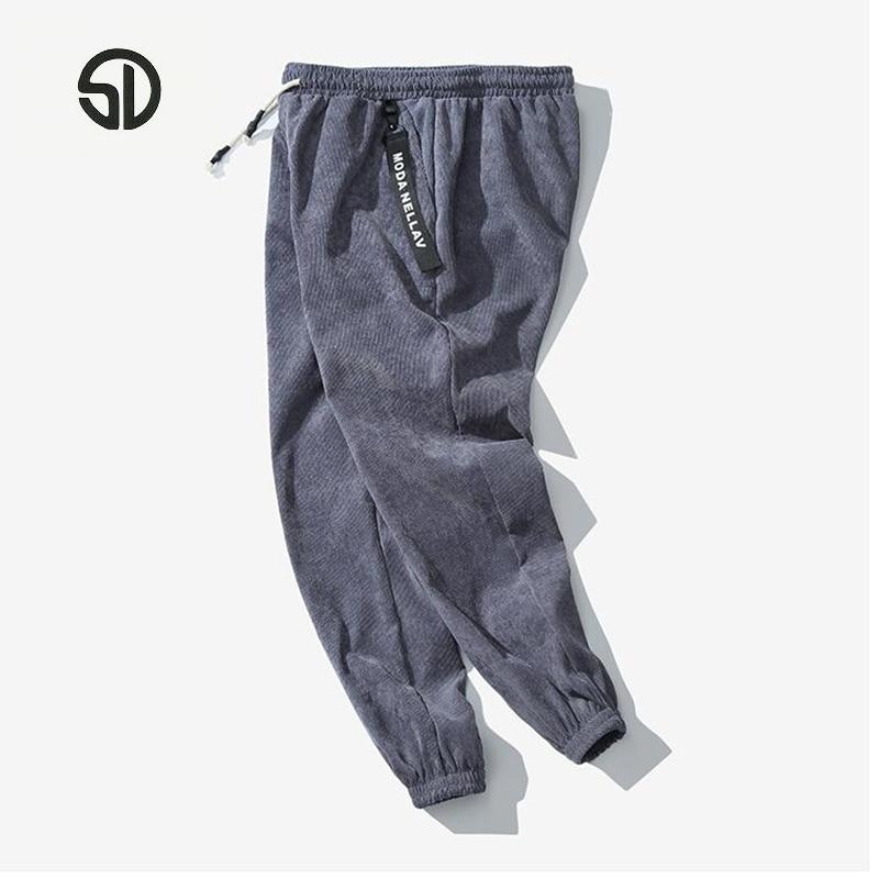 SportsX Men Large Size Corduroy High Waist Stay Warm Business Pant