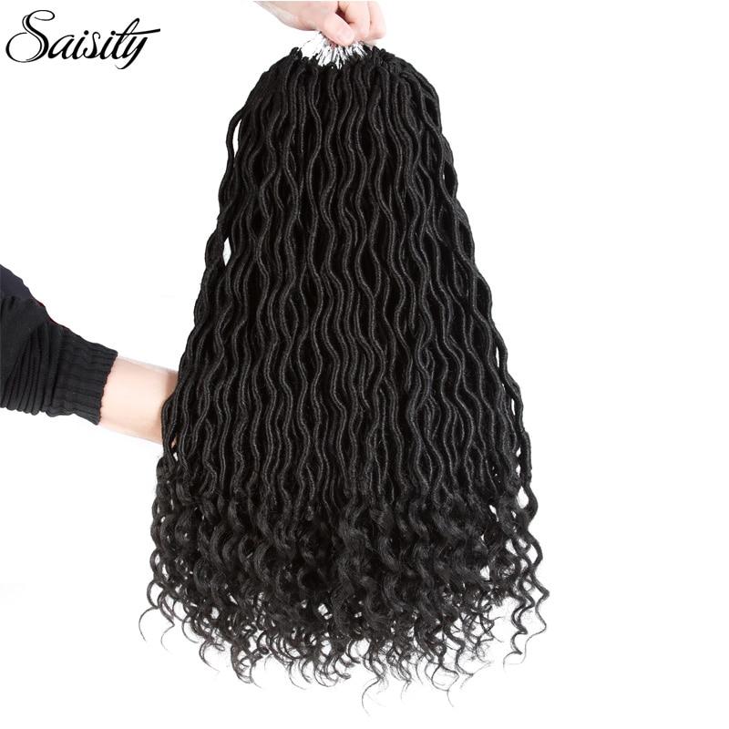 Saisity Bohemian Faux Locs Curly Crochet Braids Braiding Hair Bulk Crochet Hair Extensions Synthetic Hair Ombre Braids